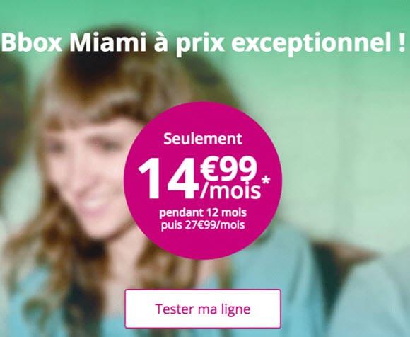 La fibre optique est à partir de 14,99€ avec Bouygues Télécom et la Bbox Miami
