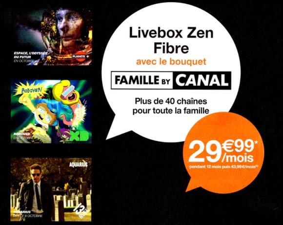 Les offres Livebox Fibre Orange avec ou sans le bouquet Famille By Canal à partir de 19.99 euros