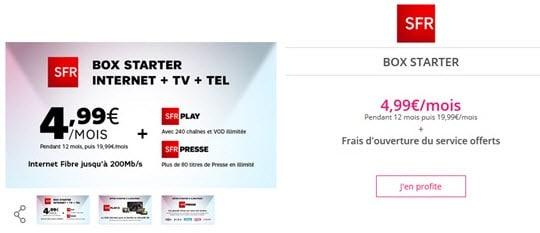 Prolongation : La Box Starter de SFR à 4.99 euros en vente privée jusqu'au 4 décembre