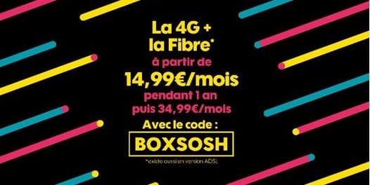 Bon plan SOSH : La 4G et la Fibre à partir de 14.99 euros avec le code BOXSOSH